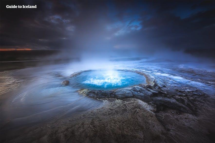 冰岛中央内陆高地的惠拉韦德利地热区地热运动剧烈