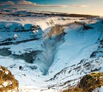 A magnificent view of Gullfoss waterfall in the winter of Iceland.