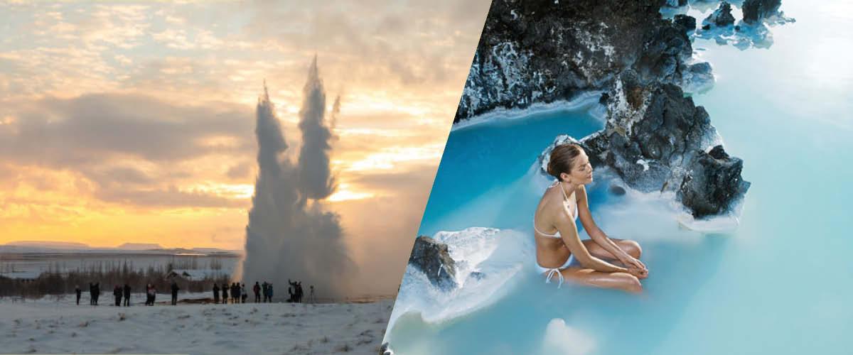Kombiner to af Islands mest populære destinationer for at besøge både Den Gyldne Cirkel og Den Blå Lagune på samme dag.