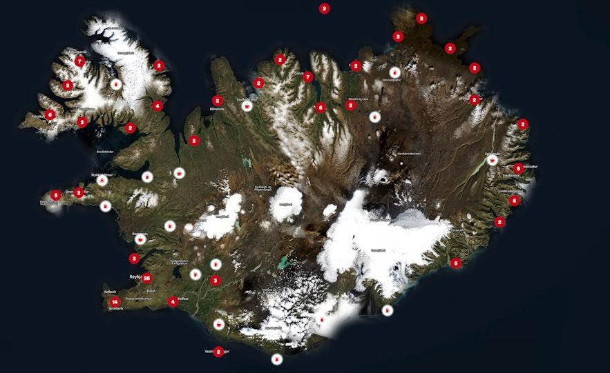 冰岛最大的油站品牌N1的油站分布图