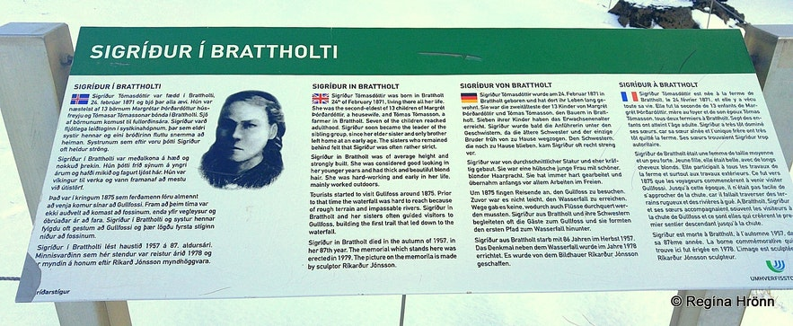 Sigríður í Brattholti- the Saviour of Gullfoss information sign