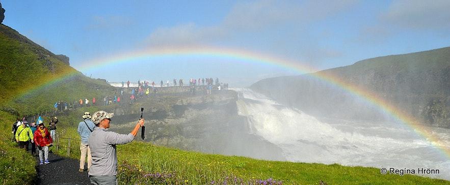People visiting Gullfoss waterfall