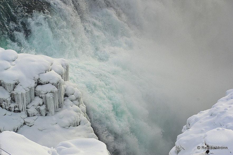 Winter photos of Gullfoss waterfall