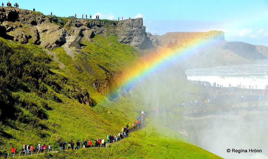 People on the trail leading to Gullfoss waterfall