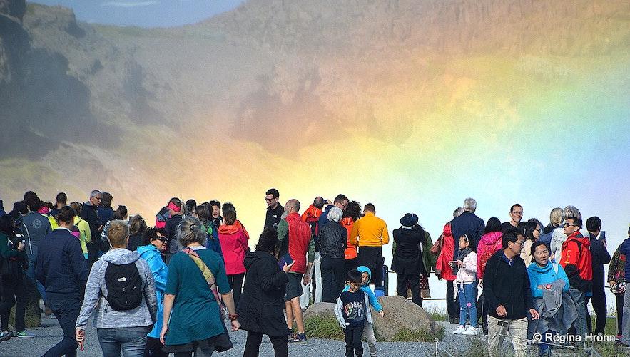 Crowds at Gullfoss waterfall