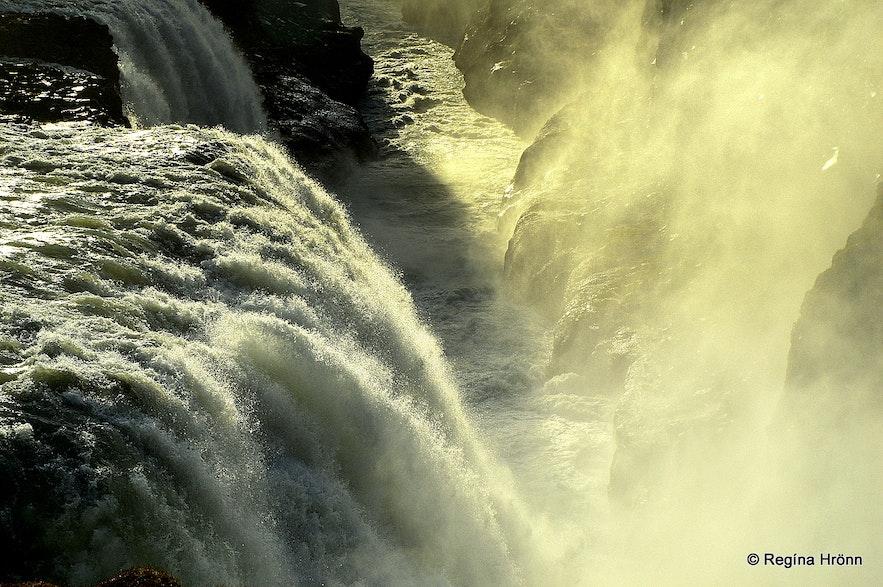 The golden Gullfoss waterfall