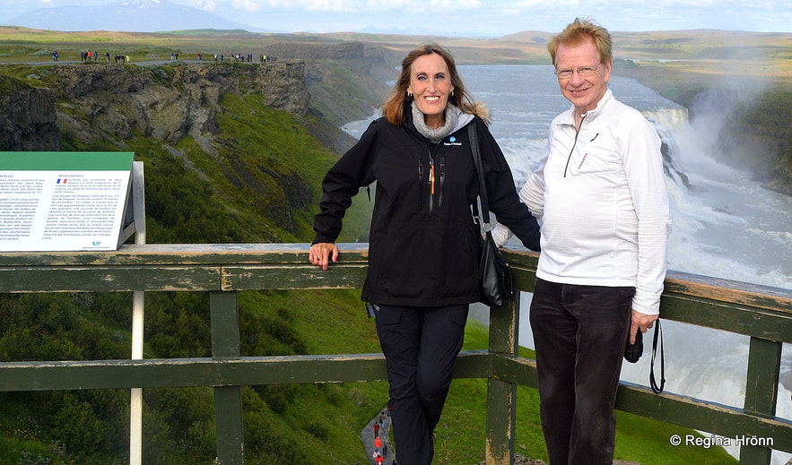 With my father-in-law on the upper level of Gullfoss from where there is a great view of the waterfall