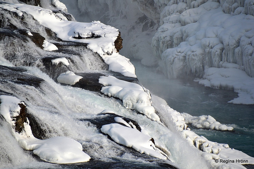 The Lady in Gullfoss in the wintertime