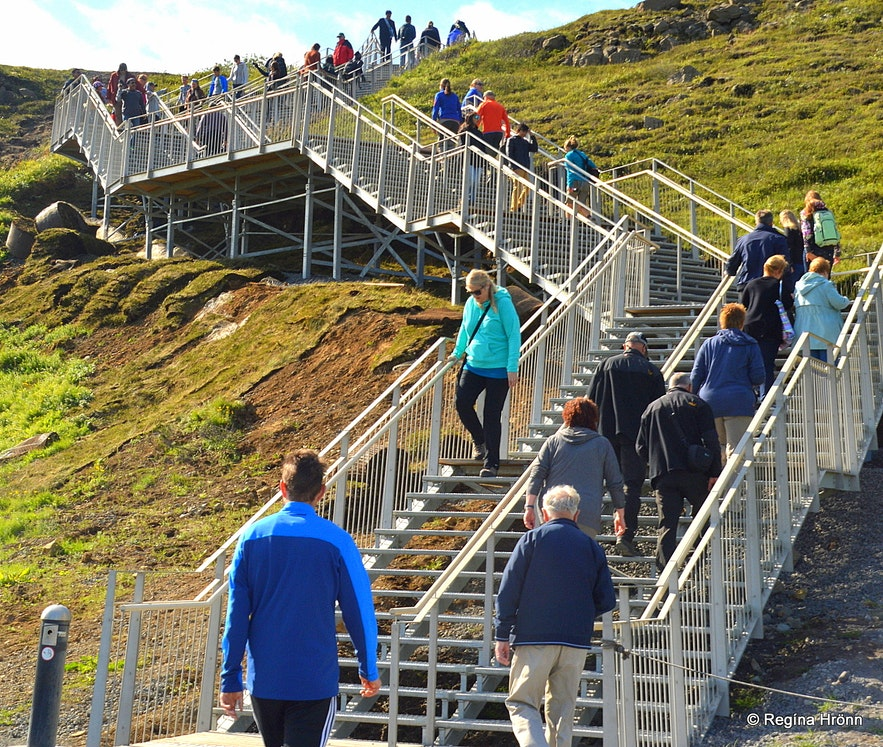 Steps leading to the upper level at Gullfoss waterfall