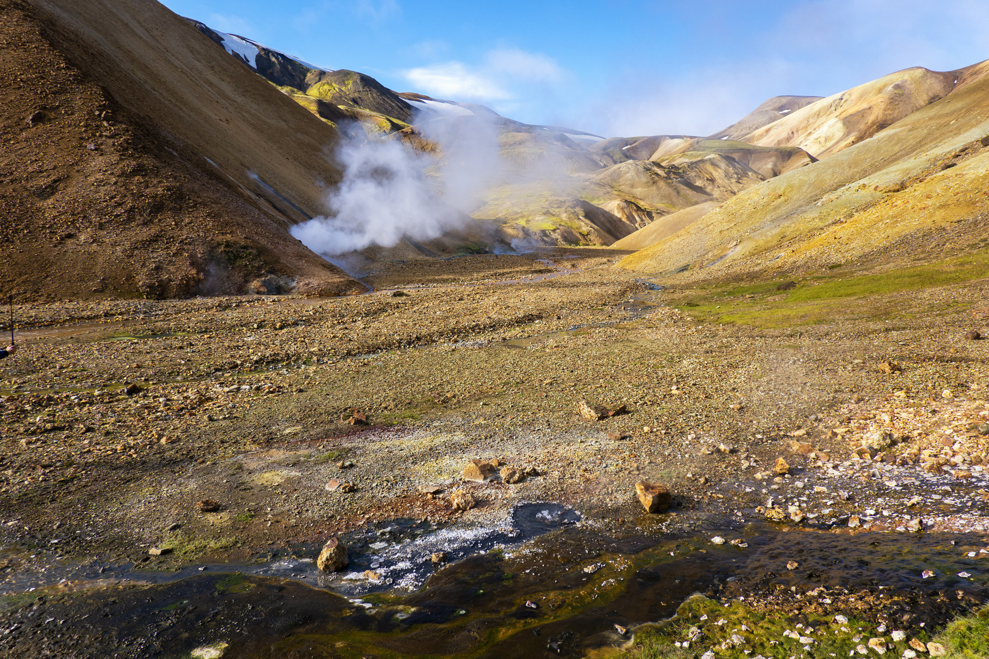The wild Highlands are known for their colourful mountains and hot springs, especially in the Landmannalaugar area.