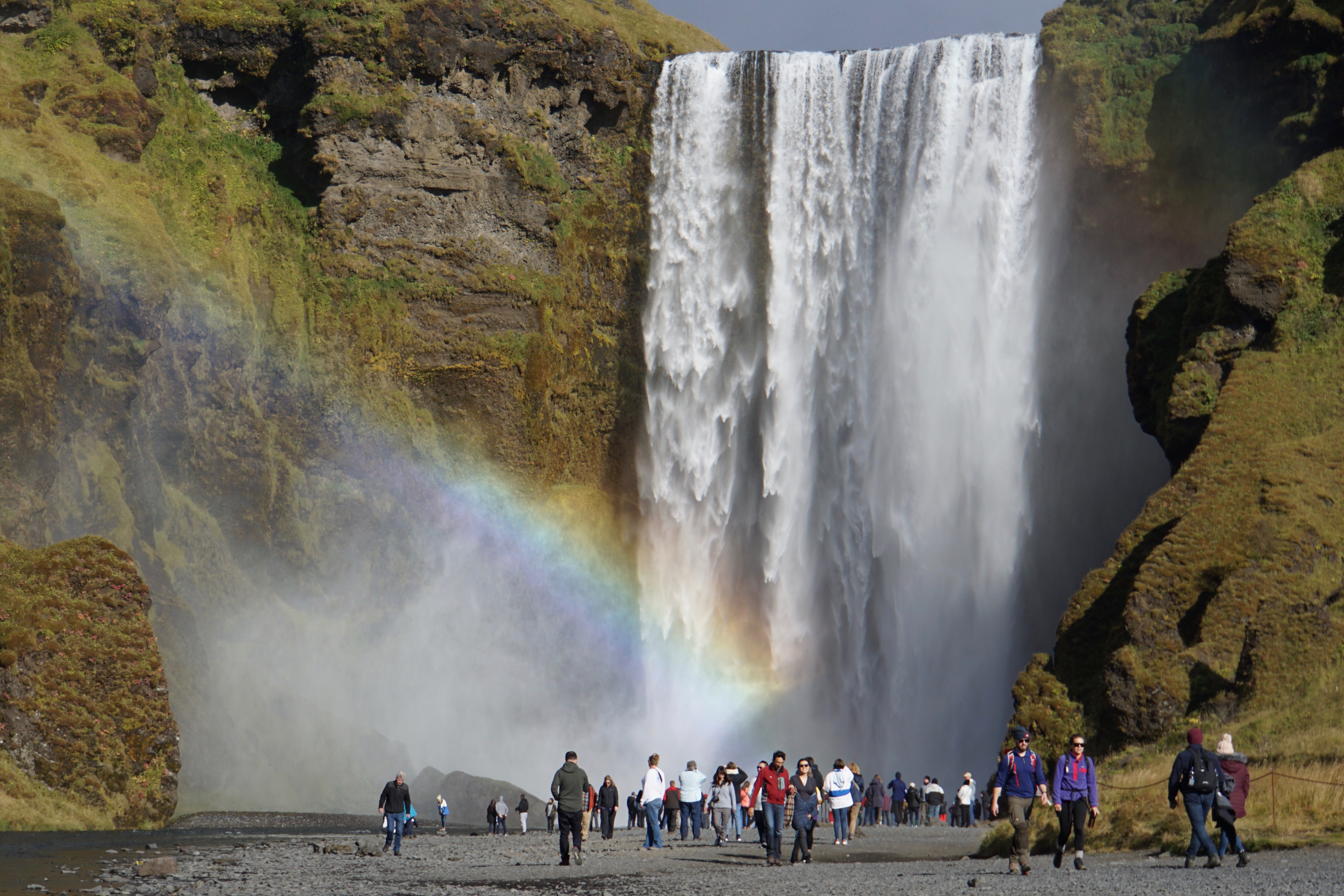 It is often possible to see more than one rainbow on sunny days at the fabulous Skógafoss waterfall.