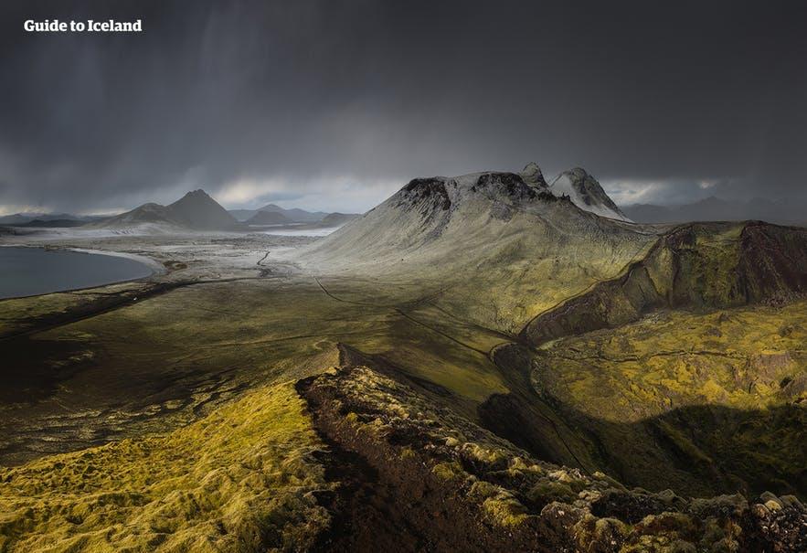 Islandzki interior z lotu ptaka.