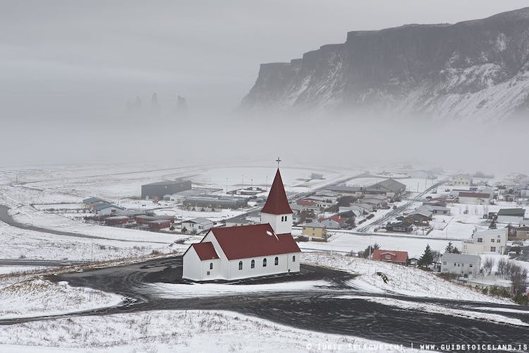 Vik is a beautiful village in South Iceland, pictured here in midwinter.