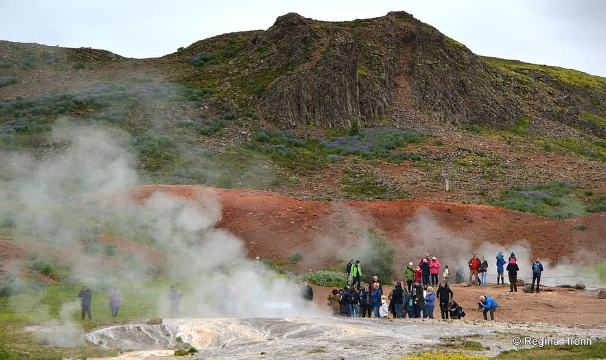 The spectacular Geysir Geothermal Area - Strokkur and all the other Hot Springs