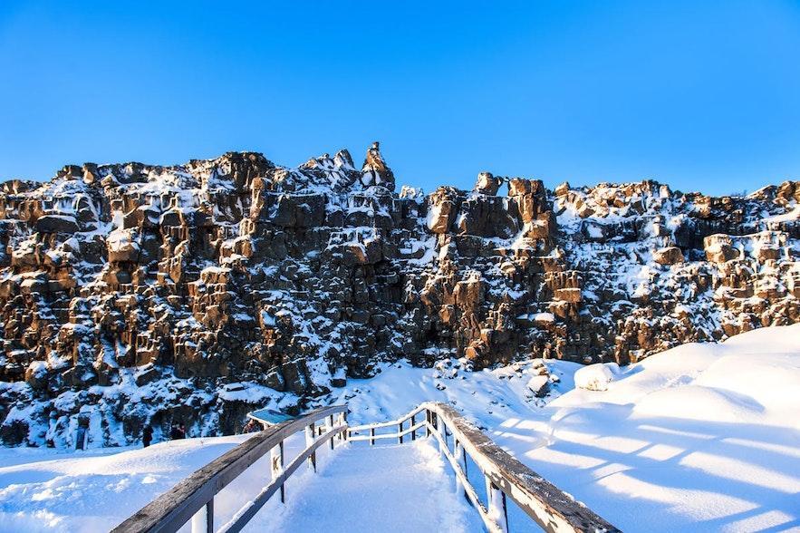 冰岛冬季的黄金圈辛格维利尔国家公园