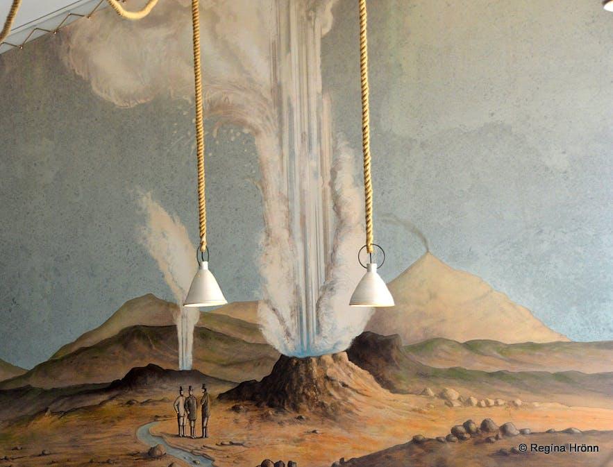 Strokkur and Geysir erupting - an old painting in the Geysir resturant