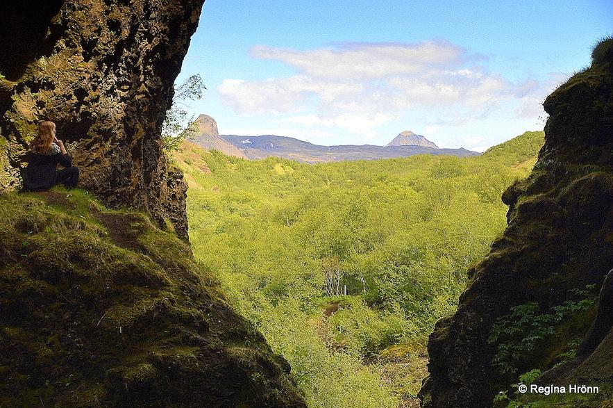 Regína at Sönghellir Singing Cave in Þórsmörk South-Iceland