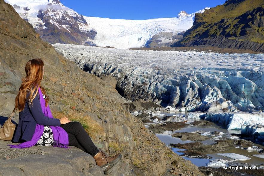 Regína at Svínafellsjökull glacier South-Iceland