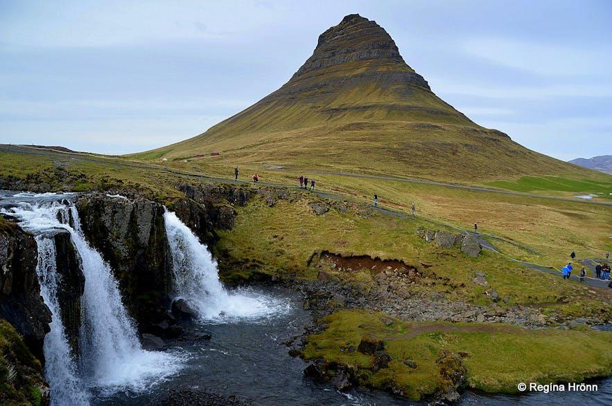 Mt. Kirkjufell and Kirkjufellsfoss waterfall West-Iceland