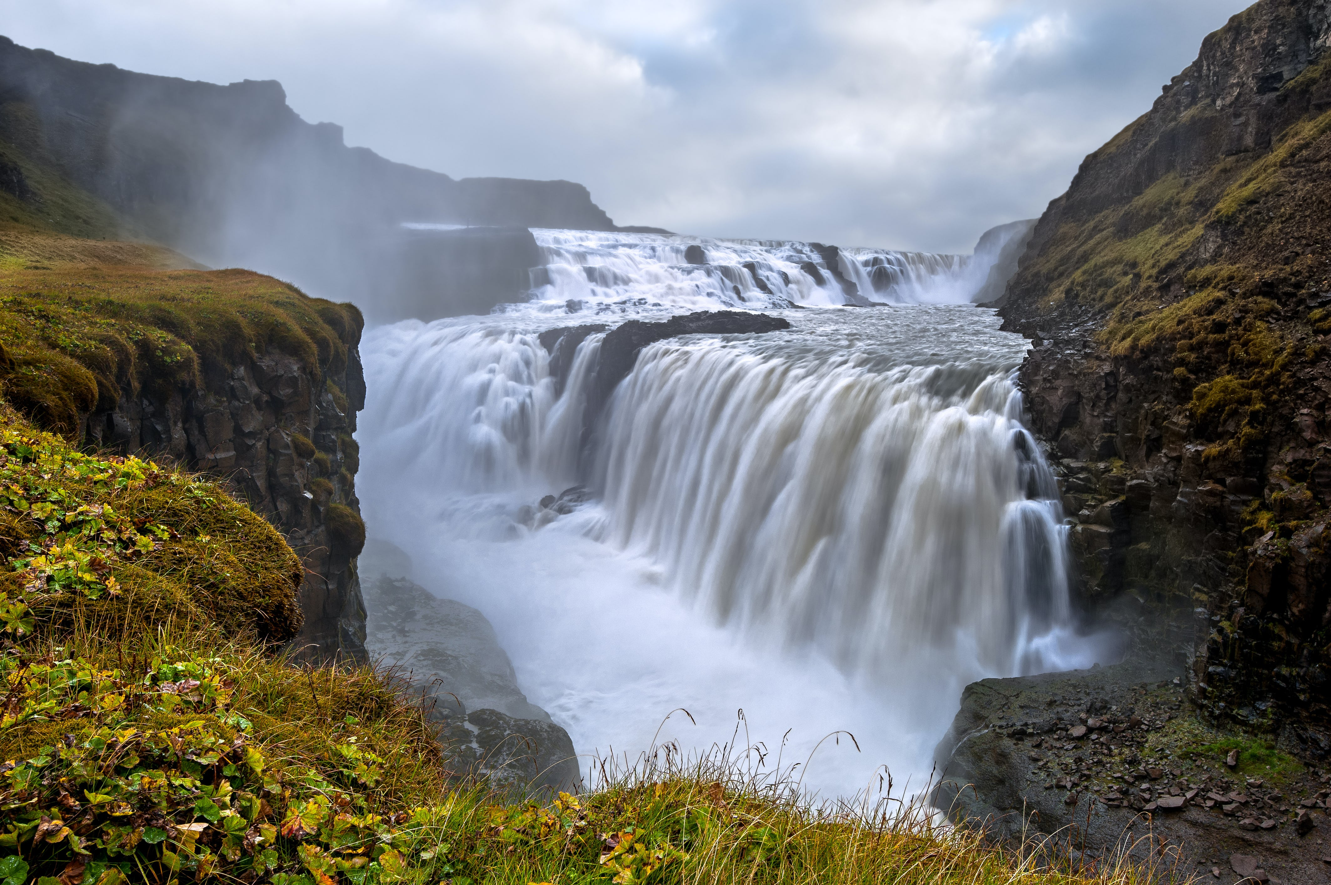 The brilliant 'Golden Falls', Gullfoss waterfall, widely considered to be the second most powerful in Europe.