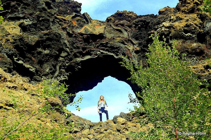 Regína in Dimmuborgir Mývatn North-Iceland