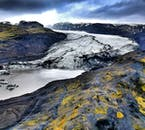 Glaciers slowly move and change over time