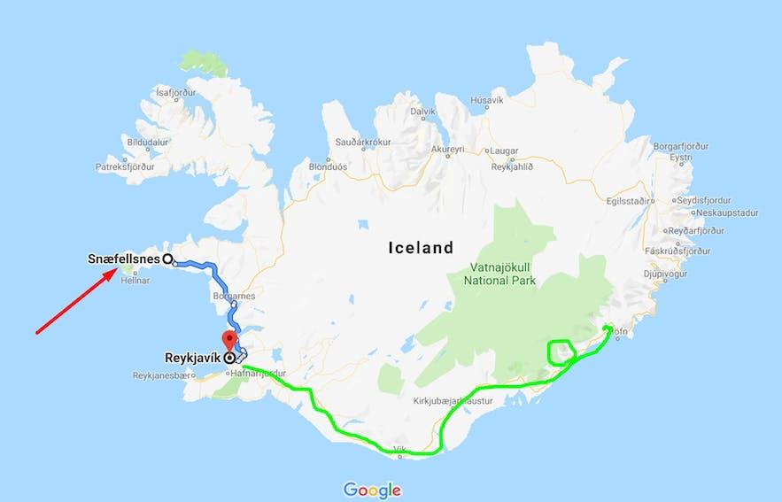 스나이펠스네스 반도 아이슬란드 서부 지도