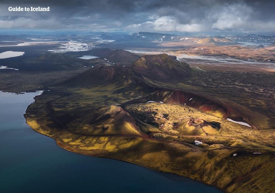 航拍冰岛中央内陆高地地区
