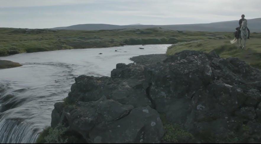 艾莉亚正骑着一匹冰岛马在平原上行走