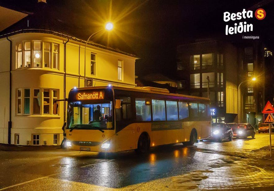 A Reykjavik City Bus late at night