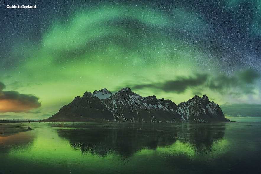 The Northern Lights photographed above Vestrahorn Mountain