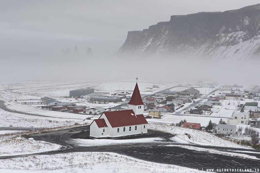 Winter landscape by the town Vik in south Iceland