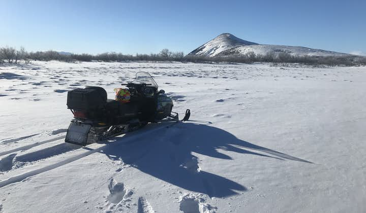 A snowmobile ready for you to ride