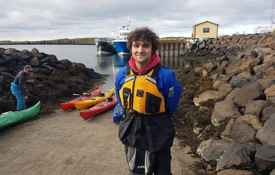 Guide to Iceland's Mike prepares for a kayak adventure.