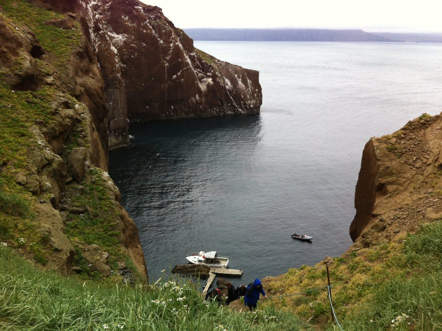 the steep and treacherous path up Drangey