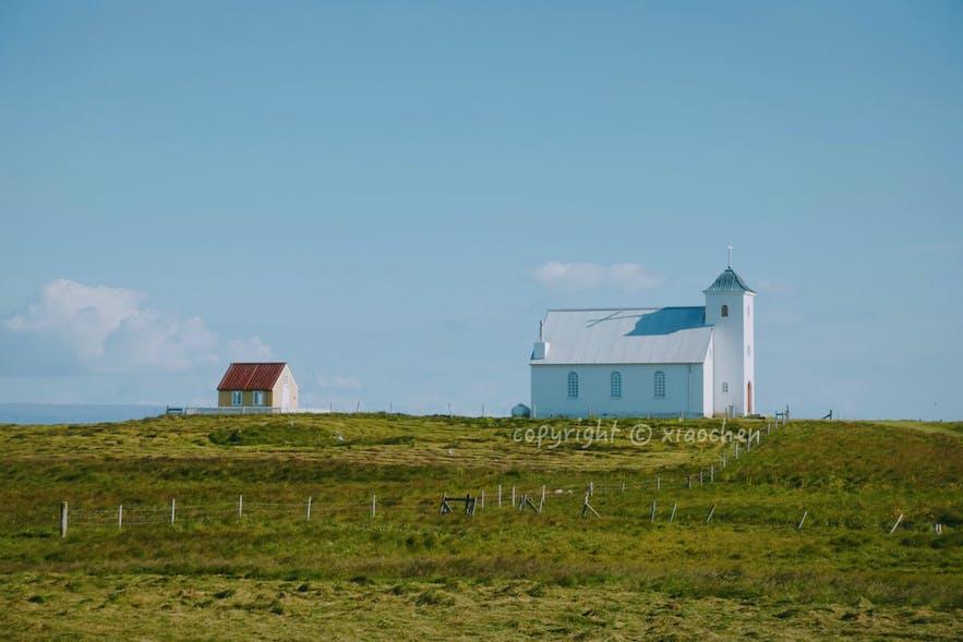 Flatey小岛的教堂外观