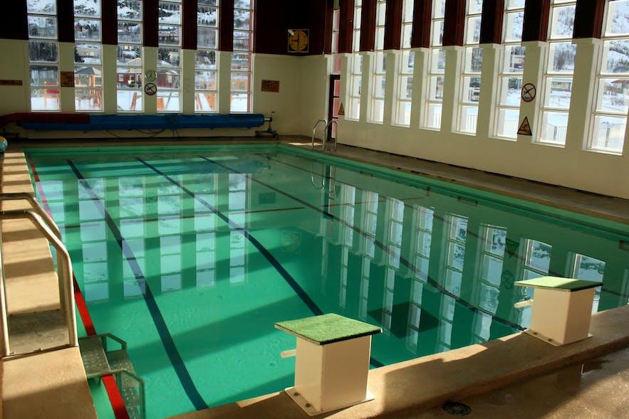 The lap pool at Seydisfjordur swimming pool