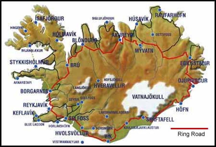 A map showing the Icelandic Ring Road in red.
