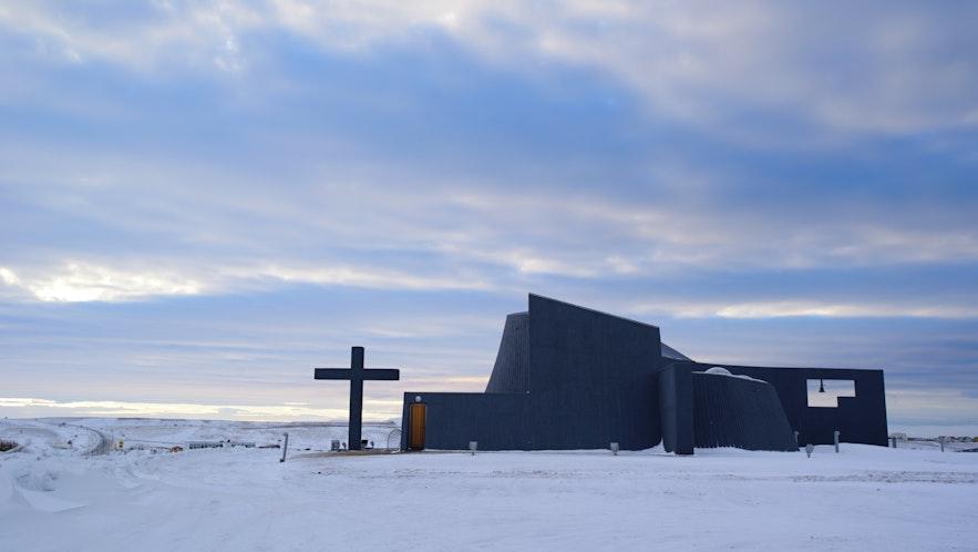 冰岛北部的Blönduóskirkja鲸鱼教堂