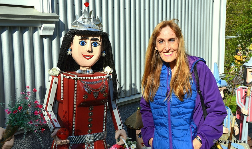 Regína and Colourful Fairytale Figures in Akureyri in North-Iceland