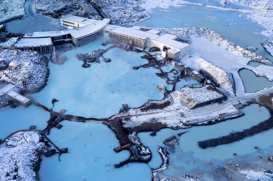 The Blue Lagoon as seen from above in winter in Iceland.