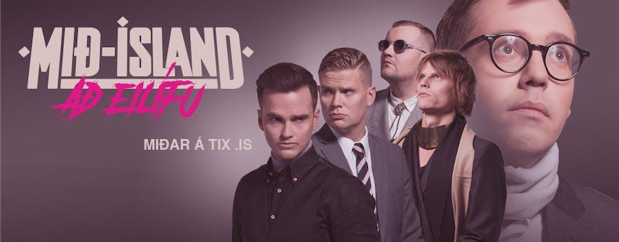 A poster for Mið-Ísland