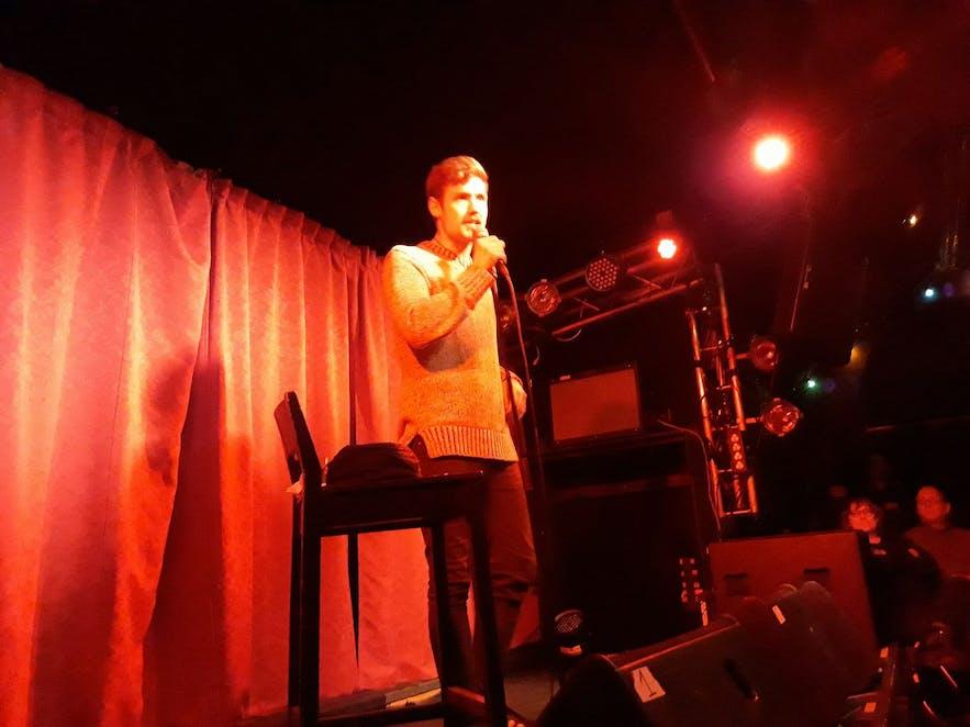 Icelandic comedian Gísli Jóhann performs