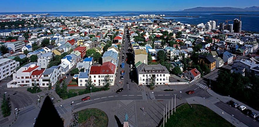 Panorama centrum Reykjaviku.