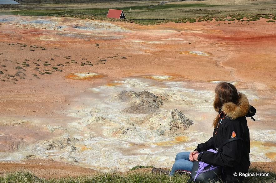 Regína at The colourful Þeistareykir Geothermal Area in North-Iceland