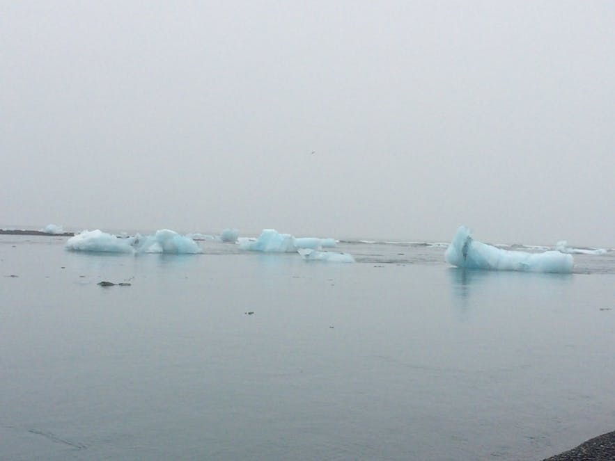 海の方へとゆっくりと流れていく青い氷塊