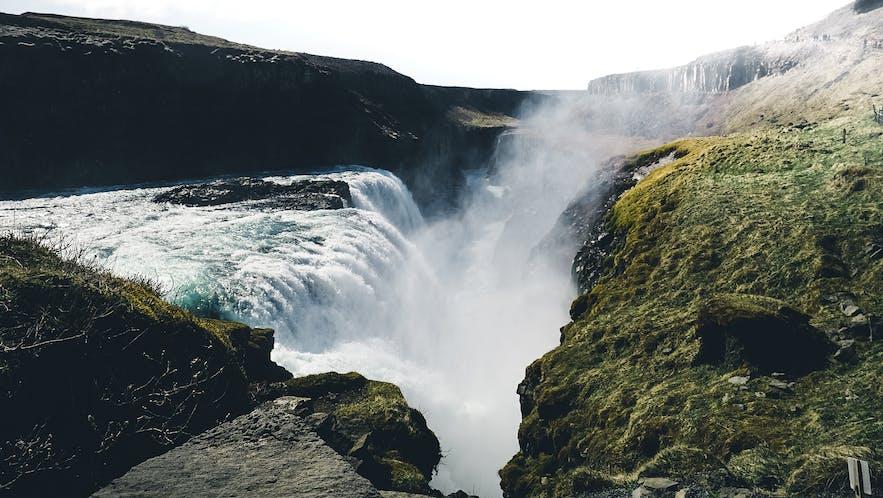 Gullfoss Waterfall seen from above