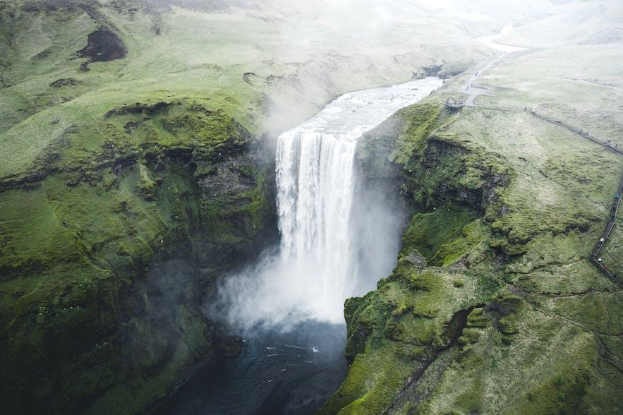 Bird's eye view of Skogafoss Waterfall