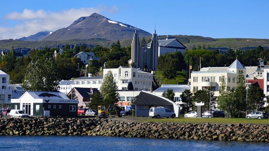 Akureyri town seen from Eyjafjordur fjord