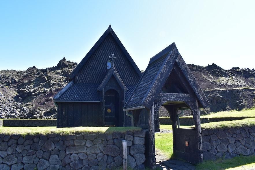 Stabkirche - Skansinn auf den Westmännerinseln in Island.